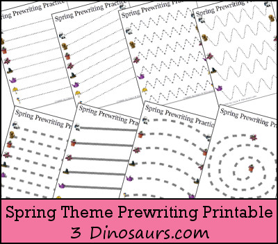 free spring theme prewriting printable 3 dinosaurs