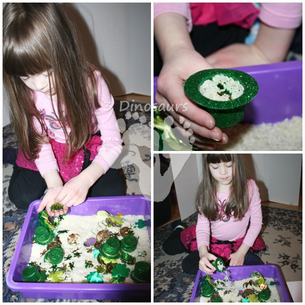 St Patrick's Day Rice Sensory - 3Dinosaurs.com