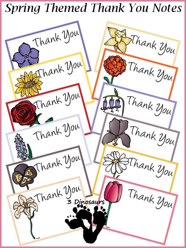 Free Spring Thank You Cards - 3Dinosaurs.com