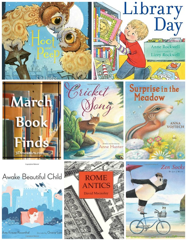 March 2016 Book Finds: night time, animals, ABC, friends, owls, library, and Rome - 3Dinosaurs.com