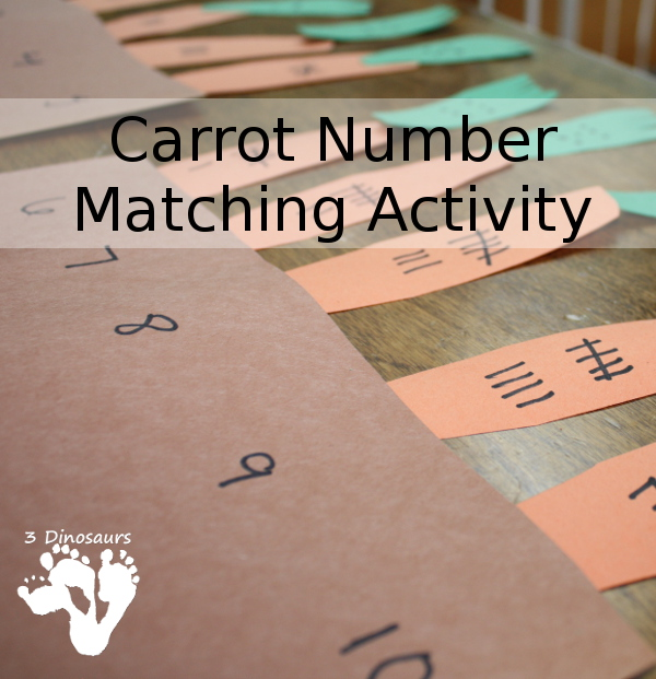 Carrot Number Matching Activity - to go with our reading the Tale of Peter Rabbit - 3Dinosaurs.com