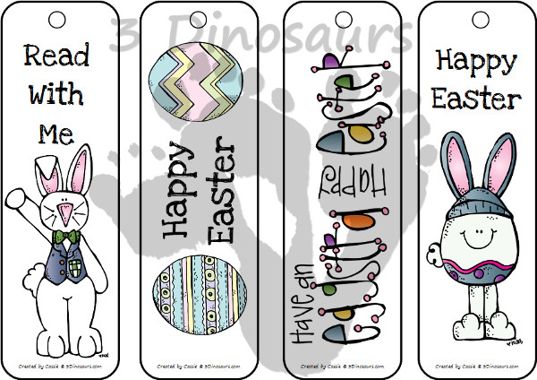 Free Easter Themed Bookmarks - 2 pages of printables - 3Dinosaurs.com