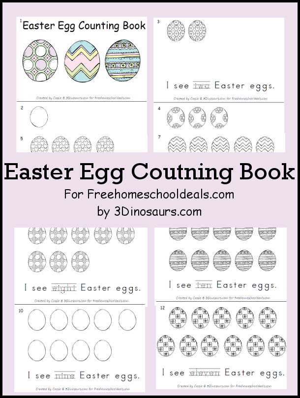 Free Easter Egg Counting Book -numbers 1 through 11 - - 3Dinosaurs.com