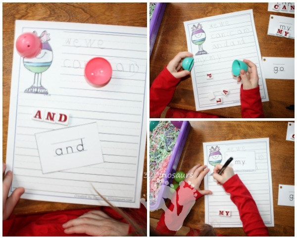 Easter Egg Sight Word Matching - hands on matching and writing activity - 3Dinosaurs.com