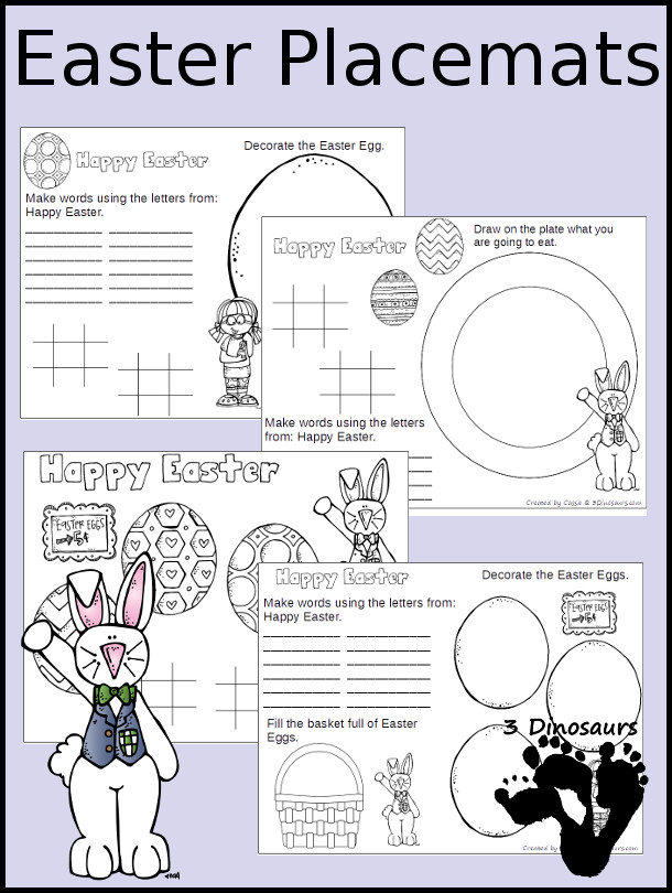 Free Easter Placemats - 4 different placemats to pick from - 3Dinosaurs.com