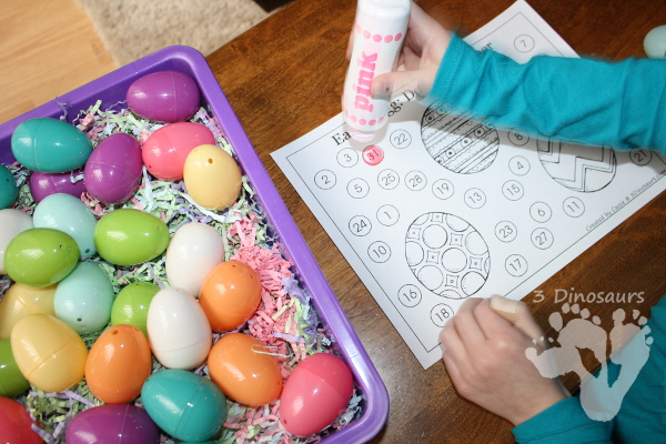 Hands-on Learning: Using Easter Calendar Cards - Making a number line and comparing larger and smaller numbers - 3Dinosaurs.com