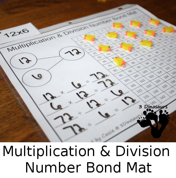 Free Multiplication Number Bond Mat - 10 different color options with chart to cover 1 through 12 multiplication and division- 3Dinosaurs.com
