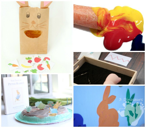 13 Peter Rabbit Activities - Virtual Book Club Activities - abc, numbers, science, cooking, sensory, color, and fine motor - 3Dinosaurs.com