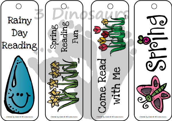 FREE Spring Themed Bookmarks - 3Dinosaurs.com