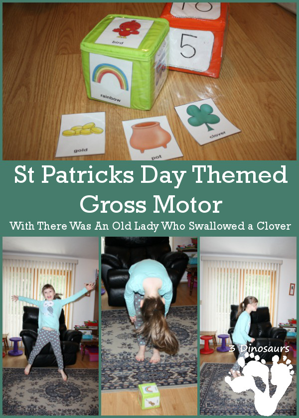 St Patrick's Day Gross Motor - to go with There was an Old Lady Who Swallowed a Clover - 3Dinosaurs.com