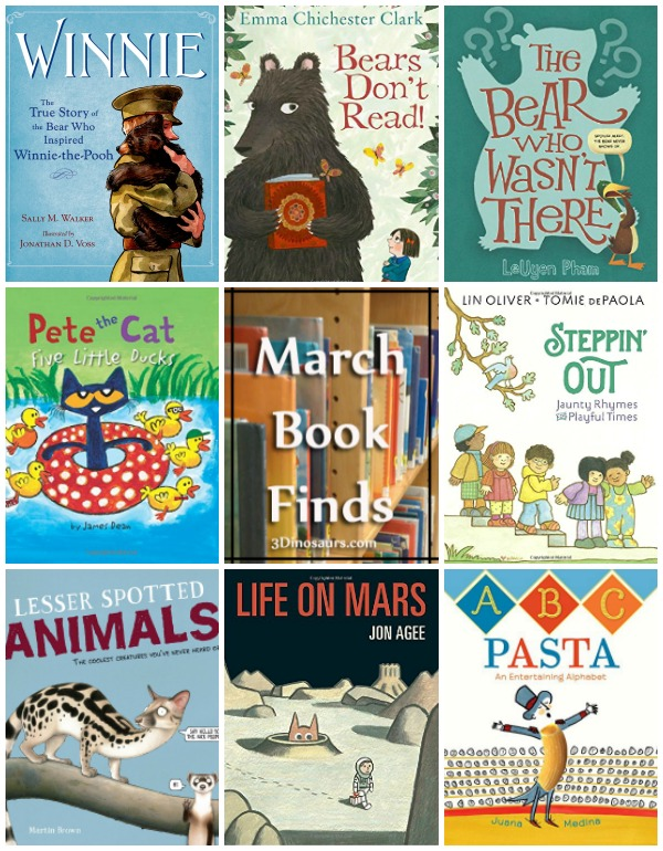 March 2017 Books finds: Pete the cat, bears, abcs, space, Winnie the Pooh - 3Dinosaurs.com