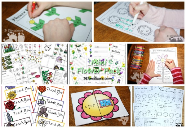 30+ Flower Printables and Activities from 3 Dinosaurs - a mix of printables, crafts, painting, sensory bins and more - 3Dinosaurs.com