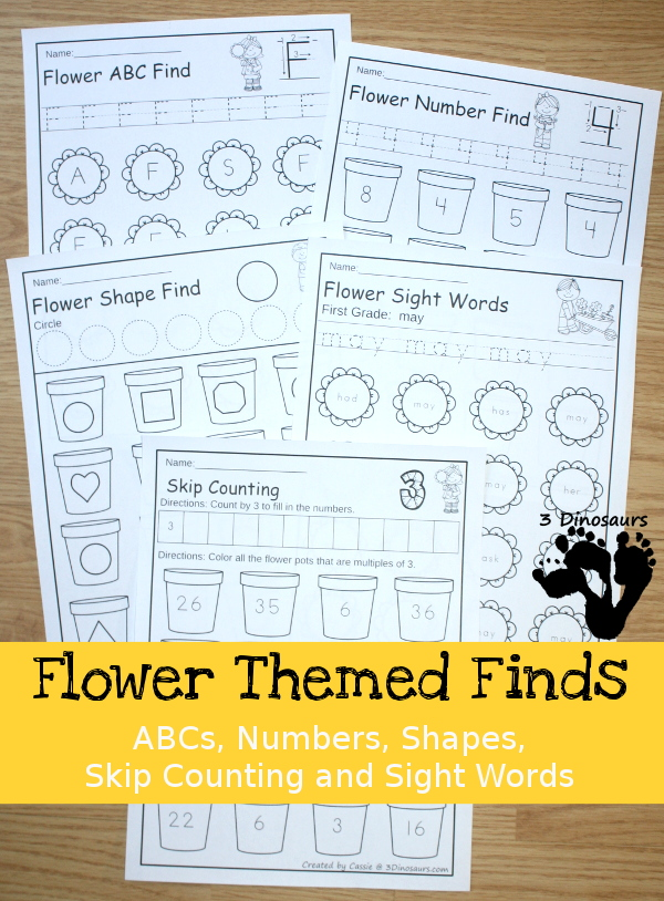 Spring Themed Finds: ABCs, Numbers, Shapes, Skip Counting and Sight Words - easy no-prep printables with a fun spring flower theme - 3Dinosaurs.com