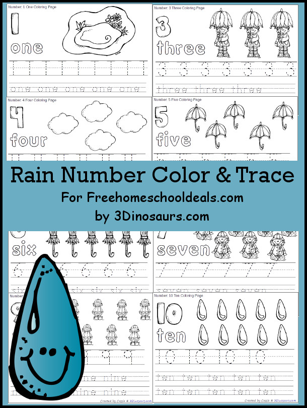 Free Rain Themed Number Color & Trace - Numbers 1 to 10 - 3Dinosaurs.com