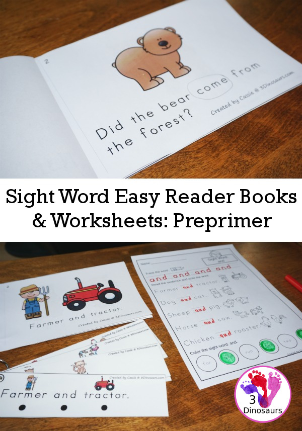 Sight Word Easy Reader Books & Worksheets: Preprimer - 3Dinosaurs.com