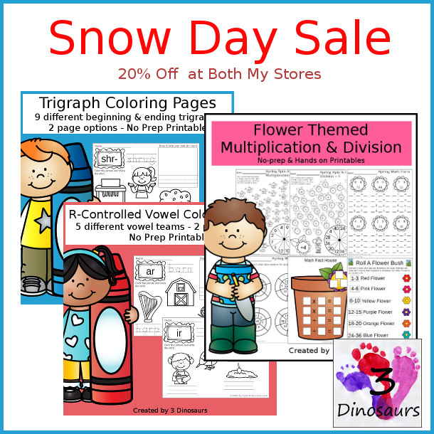 Fun Snow Day Sale - 20% off all products in my store - 3Dinosaurs.com