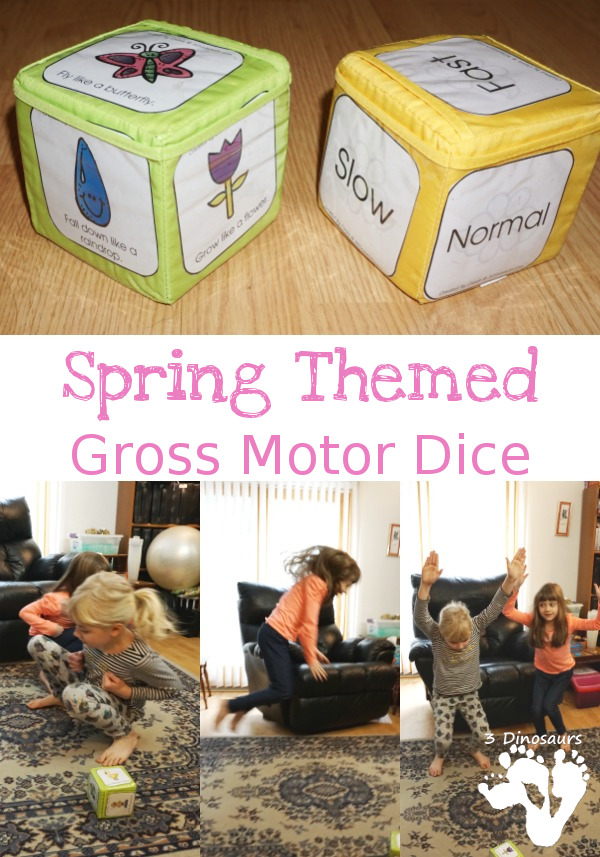 Free Spring Themed Gross Motor Dice - movement and speed dice for kids to have fun with - 3Dinosaurs.com