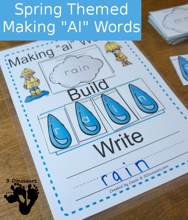 Free Rain Themed Word Building with