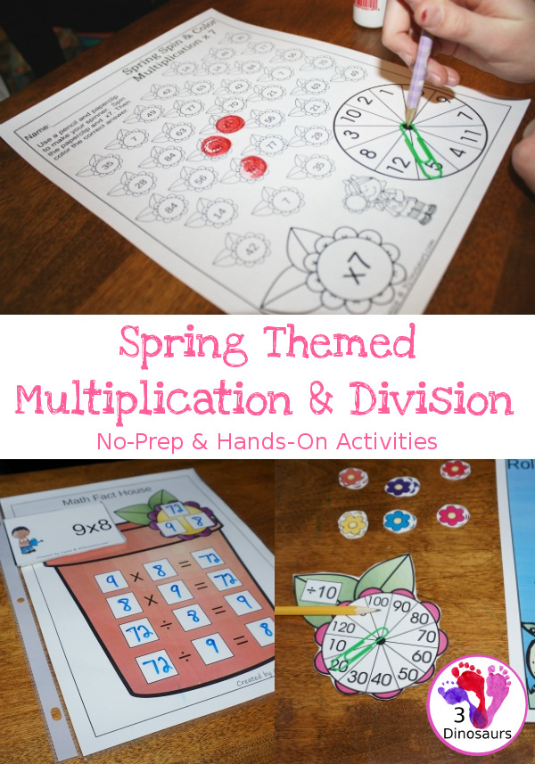 Flower Themed Multiplication & Division Set - 100 pages of no-prep and hands-on printables $ - 3Dinosaurs.com