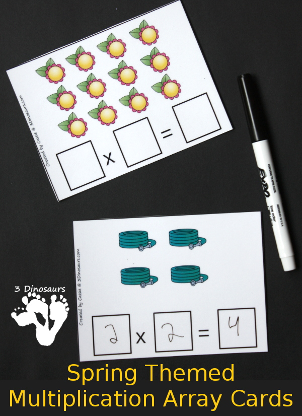 Free Spring Themed Multiplication Array Cards - using numbers 1 to 12 for the arrays with 5 pages of cards - 3Dinosaurs.com