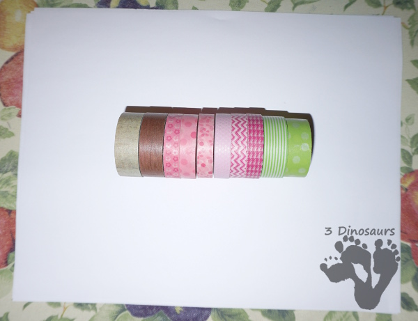 Spring Themed Washi Tape Tree is a great fine motor craft that kids can make - 3Dinosaurs.com