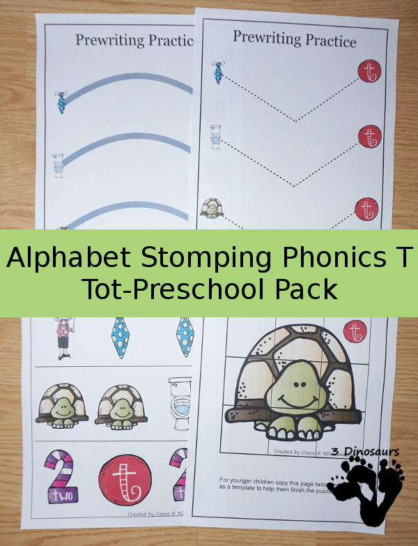Free Alphabet Stomping Phonics T Tot-Preschool Pack - 20 pages of printables - 3Dinosaurs.com