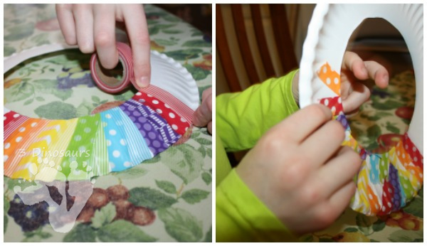 Fun Fine Motor Craft: Washi Tape Rainbow Wreaths - these are great for spring or St. Patrick's day - 3Dinosaurs.com