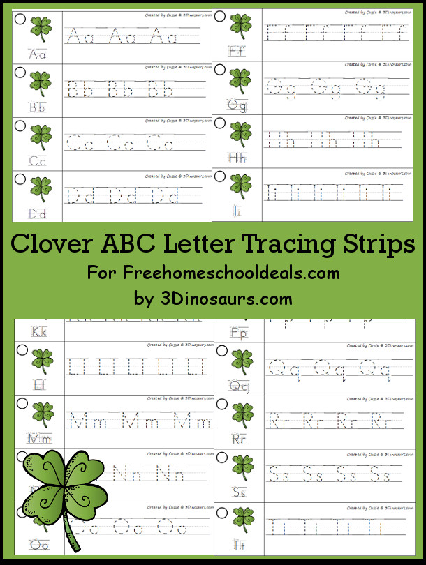 Free St Patrick's Day Theme ABC Tracing Strips - with uppercase and lowercase together - 3Dinosaurs.com
