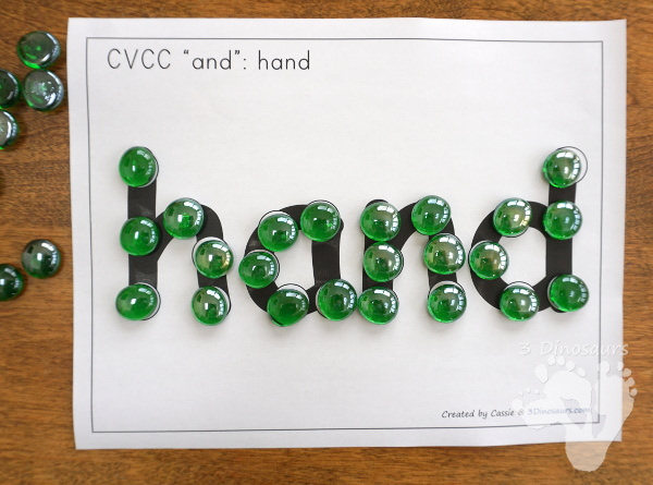 Free CVCC Word Family Dot Marker: -AND, -END, -IND, & -OND - 3Dinosaurs.com