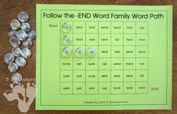 Free CVCC Word Family Word Paths: AND, END, IND, & OND - 3Dinosaurs.com