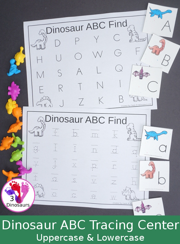 FREE Easy to Use Dinosaur ABC Find and Tracing Center - with uppercase and lowercase options for tracing - 3Dinosaurs.com