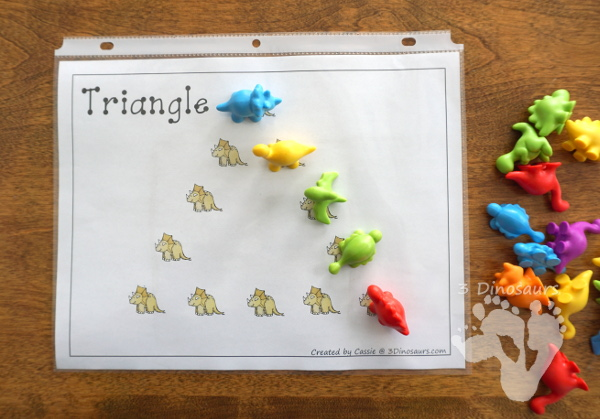 Free Fun Hands-On Dinosaur Shape Mats - 10 shape mats for kids to learn their shapes with - 3Dinosaurs.com