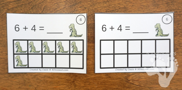 Free Dinosaur Ten Frame Addition Cards - 12 cards with recording sheet with two styles of cards - 3Dinosaurs.com