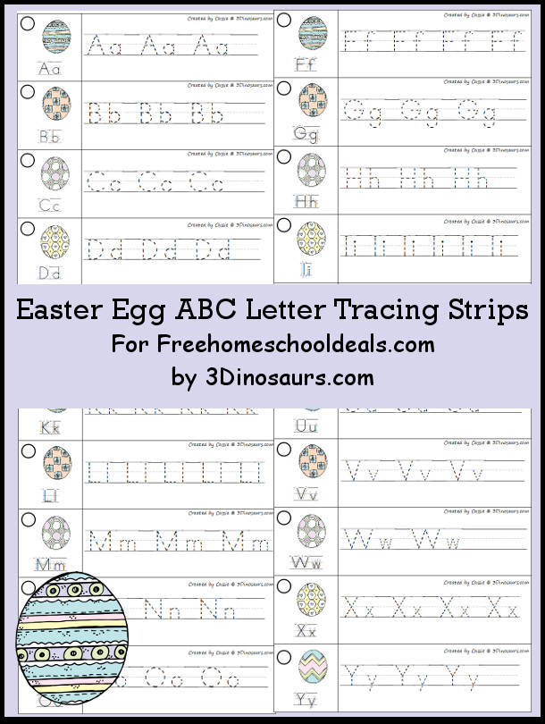 Easy to use easter egg abc tracing strips 3 dinosaurs free easter egg theme abc tracing strips with uppercase and lowercase together 3dinosaurs altavistaventures Choice Image