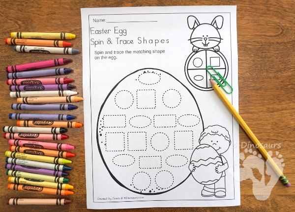 Free Easter Egg Spin and Trace Shapes - 2 pages of printables with 8 different shapes - 3Dinosaurs.com #noprep #easterprintablesforkids #printablesforkids