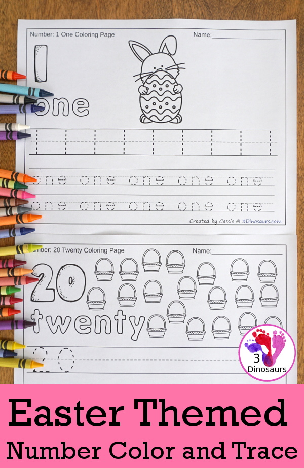 No-Prep Easter Themed Number Color and Trace - easy no-prep printables with three fun Easter themes 44 pages for each set with two options for the numbers tracing or writing $ - 3Dinosaurs.com #noprepprintable #easterprintables #numbersforkids