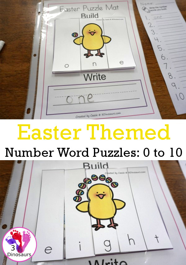 Free Hands-On Learning With Easter Themed Number Word Puzzles - numbers 0 to 10 word puzzles for kids to do hands-on spelling - 3Dinosaurs.com #handsonlearning #easterprintablesforkids #numbersforkids #printablesforkids #3dinosaurs