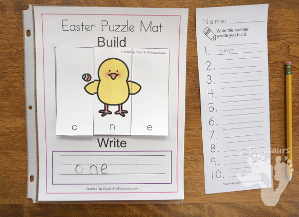 Free Hands-On Learning With Easter Themed Number Word Puzzles - numbers 0 to 10 word puzzles for kids to do hands-on spelling - 3Dinosaurs.com #handsonlearning #easterprintablesforkids #printablesforkids