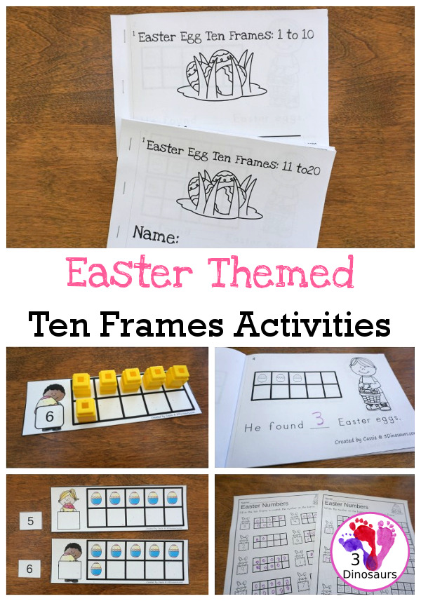 Easter Ten Frame Activities: No-Prep & Hands-On - 77 pages of printables working on ten frame activities for numbers 1 to 20 with hands-on and no-prep: cards, worksheets and easy reader books - 3Dinosaurs.com #handsonmath #teacherspayteachers #tenframe #easterprintablesforkids #printablesforkids