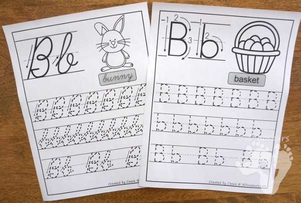 Free Fun Easter Themed ABC Tracing Sheets In Print and Cursive - 7 pages for both print and cursive - 3Dinosaurs.com #noprep #easterprintablesforkids #printablesforkids