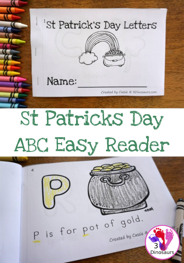 Free St Patrick's Day ABC Easy Reader Book - with 8 pages and 7 fun St Patrick's Day themes - 3Dinosaurs.com