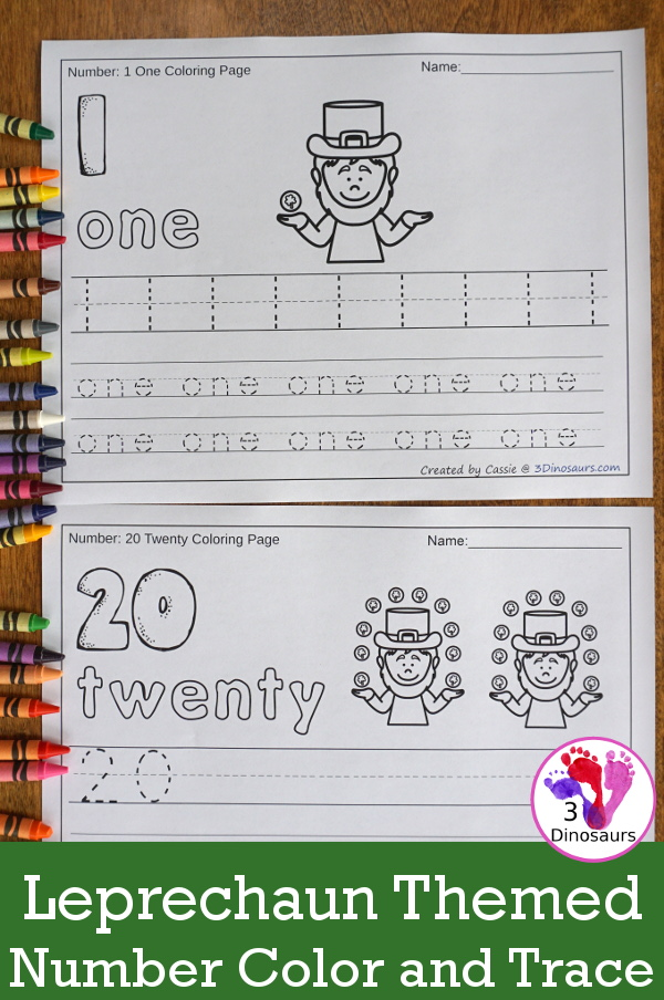 No-Prep St Patrick's Day Themed Number Color and Trace - easy no-prep printables with a fun St Patrick's day theme 44 pages with two options for the numbers tracing or writing $ - 3Dinosaurs.com #noprepprintable #stpatricksdayprintables #numbersforkids