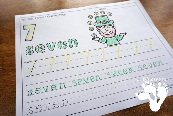 No-Prep St Patrick's Day Themed Number Color and Trace - easy no-prep printables with a fun heart theme 44 pages with two options for the numbers tracing or writing $ - 3Dinosaurs.com #noprepprintable #stpatricksdayprintables #numbersforkids