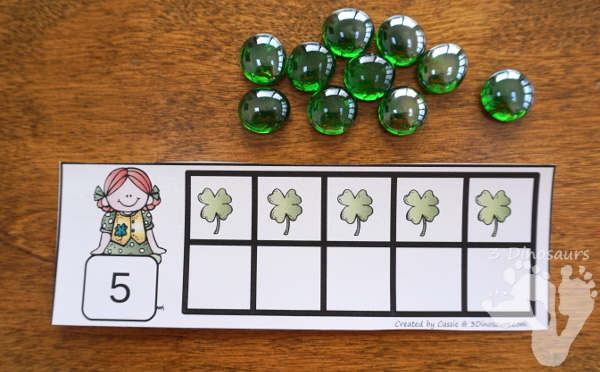Free Hands-On St Patrick's Day Ten Frame Cards - Work on numbers 1 to 10 with two sets of cards - 3Dinosaurs.com