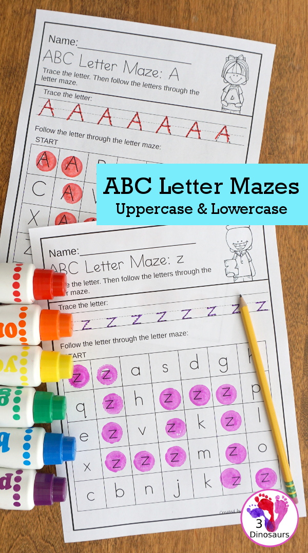 No-Prep ABC Letter Mazes - uppercase and lowercase options with tracing of the letter with a matching letter maze - 3Dinosaurs.com