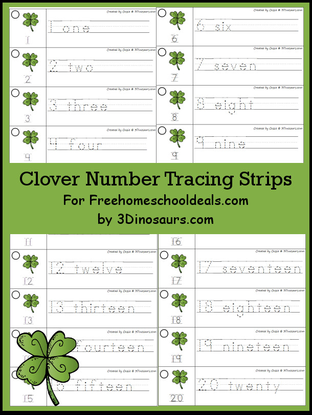 Free Clover Theme Number Tracing Strips - with numbers 1 to 20 - 3Dinosaurs.com