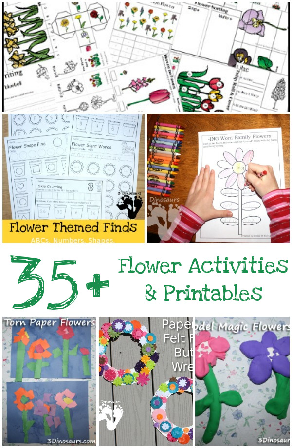 35+ Flower Printables and Activities from 3 Dinosaurs - a mix of printables, crafts, painting, sensory bins and more - 3Dinosaurs.com