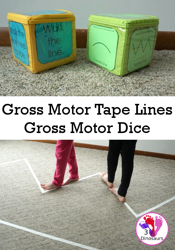Free Gross Motor Tape Lines Gross Motor Dice - 3 line types and 6 line walking activities to do  - 3Dinosaurs.com