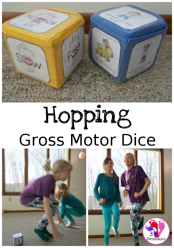 Free Hopping Gross Motor Dice -  6 movements with speed dice included with dice and dice inserts - 3Dinosaurs.com