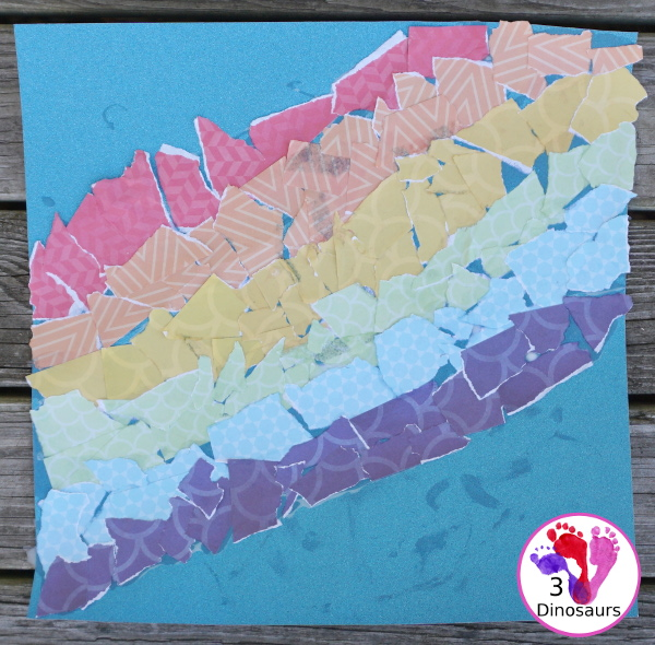 Torn Scrapbook Paper Rainbow - fun and easy craft for different ages to work on together with work on fine motor skills  - 3Dinosaurs.com